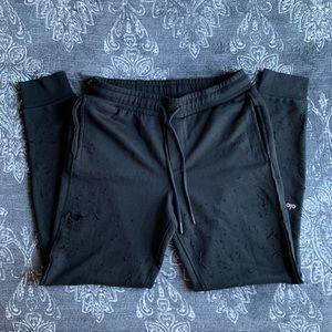 Alo Yoga Ripped Distressed Sweatpants In Black L